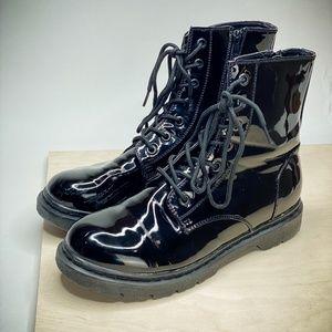 GIA MIA | Black Glossy Hip Hop Combat Boots Sz 11